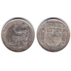 España (II República). 1934*(3-4). 1 Peseta (MBC+) (Plata)