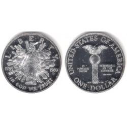 (RÉPLICA) Estados Unidos de América. 1989(D). 1 Dollar (Proof) (Plata)
