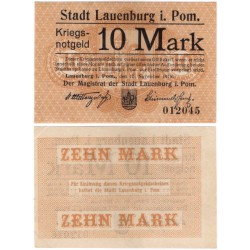 Polonia. Lauenburg in Pommern (Lębork). 1918. 10 Mark (MBC+)