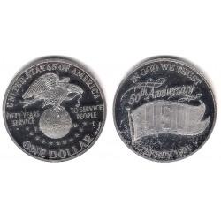 (RÉPLICA) Estados Unidos de América. 1991(D). 1 Dollar (Proof) (Plata)