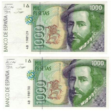 España. 1992. 1000 Pesetas (x2) (EBC) Serie 4B