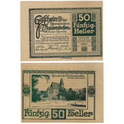 Haidershofen (Baja Austria). 1920. 50 Heller (EBC+)