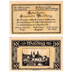 Walding (Alta Austria). 1920 . 10 Heller (EBC+)