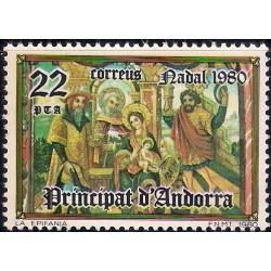 (125) Andorra. 1980. 22 Pesetas. Navidad (Nuevo)