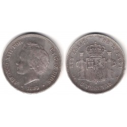 Alfonso XIII. 1893*(18---). 5 Pesetas (BC+) Ceca de Madrid PG-L. Falsa de época