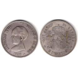 Alfonso XIII. 1892*(18-9-). 5 Pesetas (BC) Ceca de Madrid PG-M. Falsa de época