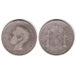 Alfonso XIII. 1898*(-----). 5 Pesetas (BC+) (Plata) Ceca de Madrid SG-V. Falsa de época