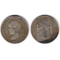 Alfonso XIII. 1891*(-----). 5 Pesetas (BC) (Plata) Ceca de Madrid PG-M. Falsa de época