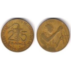 (9) Estados África Oeste. 2001. 25 Francs (BC)