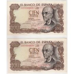 Estado Español. 1970. 100 Pesetas (x2) (EBC+) Serie 5E. Pareja Correlativa