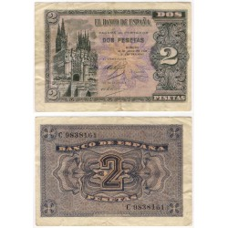 Estado Español. 1938. 2 Pesetas (BC+) Serie C