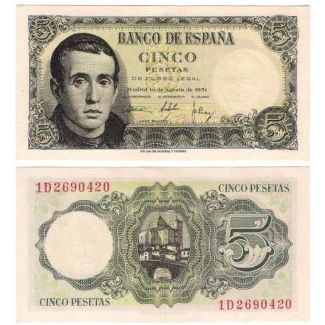 Estado Español. 1951. 5 Pesetas (SC) Serie 1D