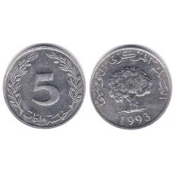 (282) República Tunecina. 1993. 5 Millim (SC)