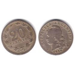 (36) Argentina. 1919. 20 Centavos (BC+)