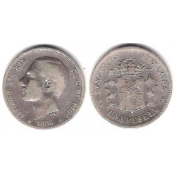 Alfonso XII. 1883*(---83). 1 Peseta (MBC) (Plata) Ceca de Madrid MS-M