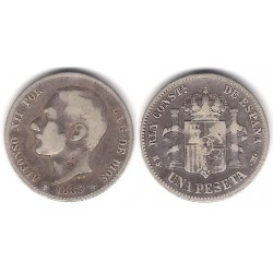 Alfonso XII. 1883*(---83). 1 Peseta (BC+) (Plata) Ceca de Madrid MS-M