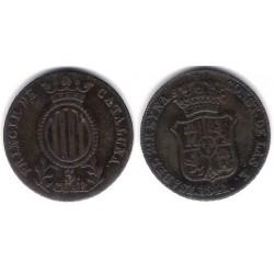 Isabel II. 1841. 3 Cuartos (EBC) Ceca de Cataluña