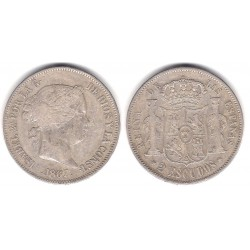 Isabel II. 1867. 2 Escudos (MBC) (Plata) Ceca de Madrid