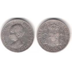 Alfonso XIII. 1892*(9-2). 50 Céntimos (MBC) (Plata) Ceca de Madrid PG-M