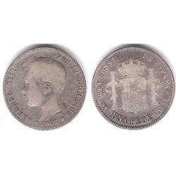Alfonso XIII. 1902*(-----). 1 Peseta (BC-/BC) (Plata) Ceca de Madrid SM-V