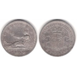 Gobierno Provisional. 1870*(18-73). 2 Pesetas (BC+) (Plata) Ceca de Madrid DE-M