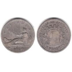 Gobierno Provisional. 1870*(1--73). 2 Pesetas (BC) (Plata) Ceca de Madrid DE-M
