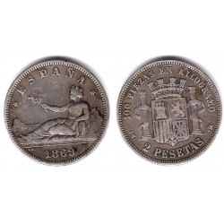 Gobierno Provisional. 1869*(18-69). 2 Pesetas (BC+) (Plata) Ceca de Madrid SN-M