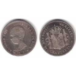 Alfonso XIII. 1889*(-----). 1 Peseta (BC-) (Plata) Ceca de Madrid MP-M