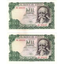 Estado Español. 1971. 1000 Pesetas (x2) (EBC+) Serie 4G. Pareja correlativa