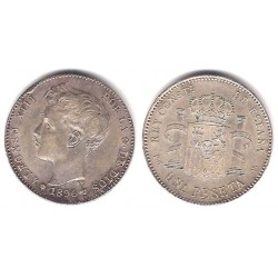 Alfonso XIII. 1896*(18-96). 1 Peseta (EBC) (Plata) Ceca de Madrid PG-V