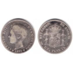 Alfonso XIII. 1899*(-----). 1 Peseta (BC-) (Plata) Ceca de Madrid SG-V