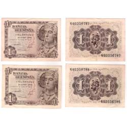 Estado Español. 1948. 1 Peseta (x2) (MBC) Pareja Correlativa