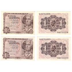 Estado Español. 1948. 1 Peseta (x2) (SC) Serie G. Pareja correlativa