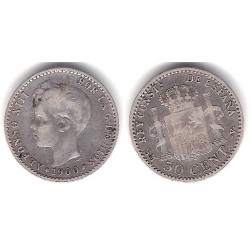Alfonso XIII. 1900*(0-0). 50 Céntimos (BC+) (Plata) Ceca de Madrid SM-V