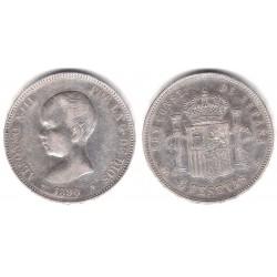 Alfonso XIII. 1890*(18-90). 5 Pesetas (BC+) (Plata) Ceca de Madrid MP-M