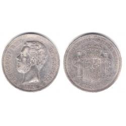 Amadeo I. 1871*(18-74). 5 Pesetas (BC) (Plata) Ceca de Madrid DE-M