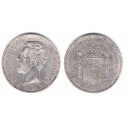 Alfonso XII. 1877*(18-77). 5 Pesetas (MBC-) (Plata) Ceca de Madrid DE-M
