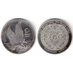 Estados Unidos Mexicanos. Sin Fecha. 2 Onzas (Proof) (Plata)