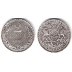 (8) Letonia. 1926. 2 Lati (MBC) (Plata)