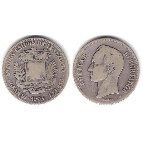 (Y23) Venezuela. 1904. 2 Bolivares (BC) (Plata)