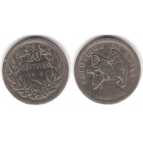 (167.1) Chile. 1922. 20 Centavos (BC)