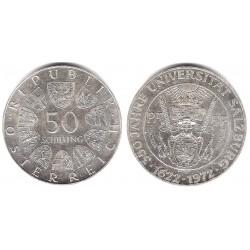 (2913) Austria. 1972. 50 Schilling (SC) (Plata)