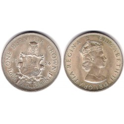 (14) Bermuda. 1964. 1 Crown (SC) (Plata)