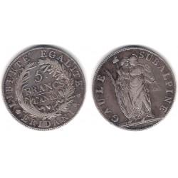 (C4) Estados Italianos (Piamonte). 1801. 5 Francs (BC+) (Plata)
