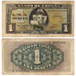 Estado Español. 1940. 1 Peseta (BC) Serie I. Manchas