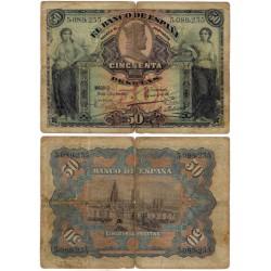 España. 1907. 50 Pesetas (RC) Sin Serie. Roturas