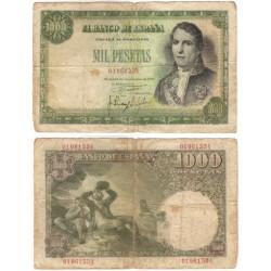 Estado Español. 1949. 1000 Pesetas (RC) Sin Serie. Roturas varias y manchas