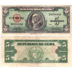 (92) Cuba. 1960. 5 Pesos (BC+)