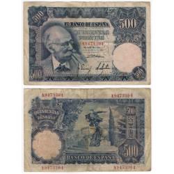 Estado Español. 1951. 500 Pesetas (BC-) Serie A. Manchas