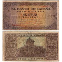 Estado Español. 1938. 100 Pesetas (BC) Serie G. Roturas en márgenes